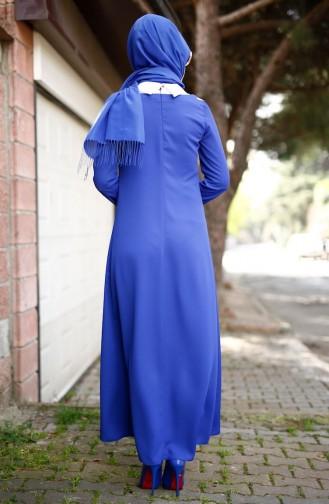 Gömlek Yakalı Krep Elbise 4188-02 Saks 4188-02