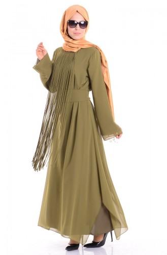 Abaya Mousseline a Franges 35684 -03 Vert Khaki 35684-03