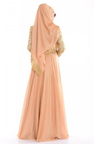 Şallı İşlemeli Abiye Elbise 0038-02 Gold 0038-02