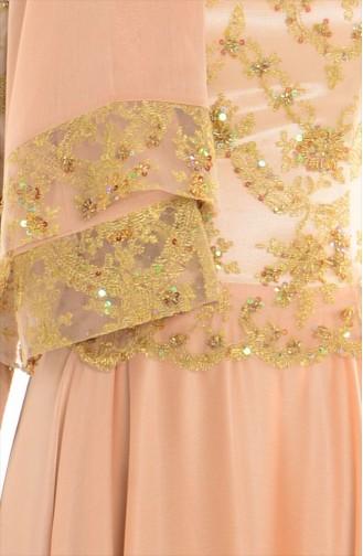 Şallı İşlemeli Abiye Elbise 0038-02 Gold