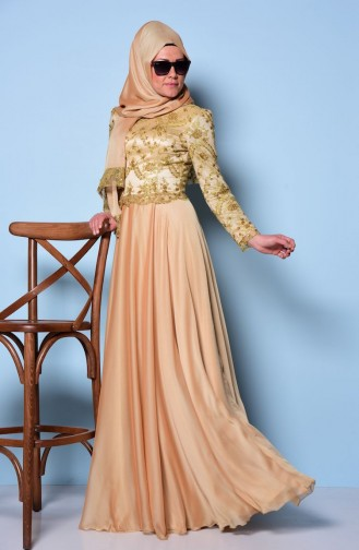 Gold Islamic Clothing Evening Dress 0038-02