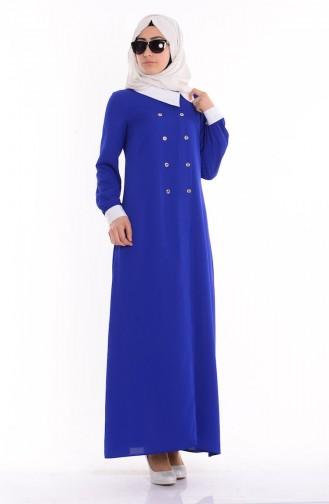 Gömlek Yakalı Elbise 4187-02 Saks Sefamerve