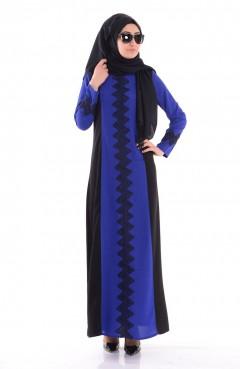 Sefamerve Nakışlı Elbise 0541-01 Saks