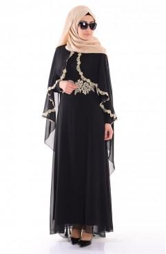 Sefamerve Pelerin Detaylı Elbise 52436-01 Siyah