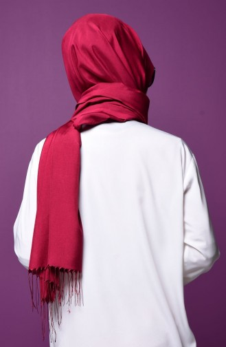 Light Claret Red Snap Fastener Shawl 1-31