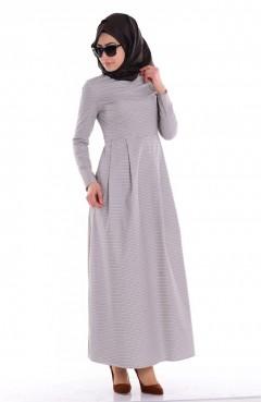 Sefamerve Kazayağı Desenli Elbise 7043B-01 Kahverengi Ekru