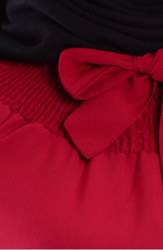 Lastik Detaylı Elbise 0190-01 Kırmızı 0190-01