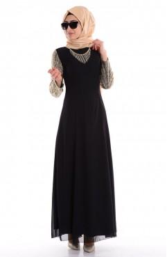 Sefamerve Pul İşlemeli Abiye Elbise 2440-02 Siyah