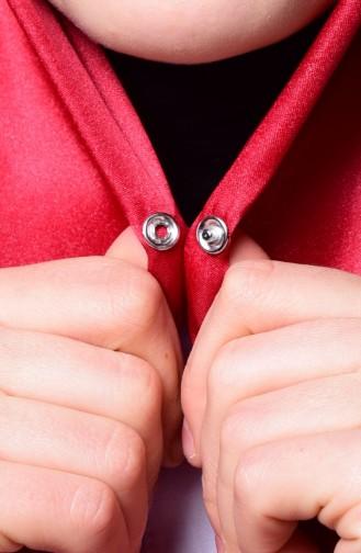 Light Claret Red Sjaal met Drukknoop 1-31
