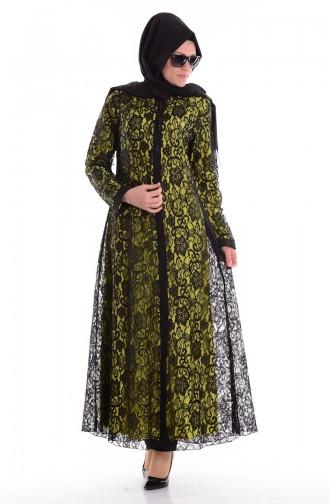 Güpürlü Ferace 35598-03 Fıstık Yeşil