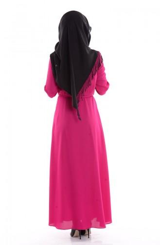 Sivri Yaka Krep Elbise 4190-06 Fuşya