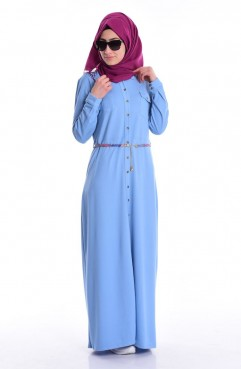 Sefamerve Kot Viskon Elbise 4449-01 Buz Mavi