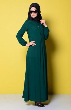 Sefamerve Viskon Elbise 0618A-02 Yeşil