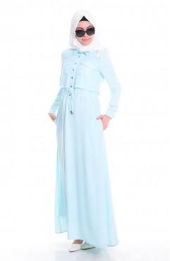 Sefamerve Gömlek Yaka Elbise 4114-04 Buz Mavi