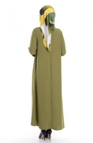 Krep Kolyeli Elbise 4182-05 Yeşil 4182-05