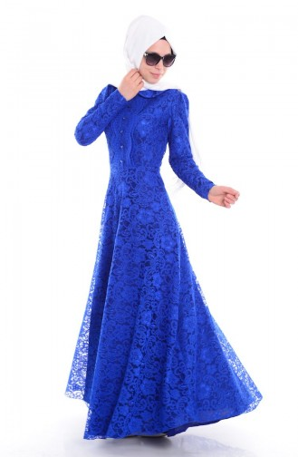 Saxon blue İslamitische Avondjurk 4192-04