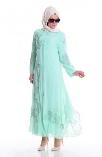Abaya Lacée 35682-03 Vert Menthe 35682-03