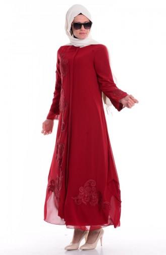 Claret red Abaya 35682-05