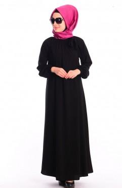 Sefamerve Mileny Tesettür Elbise 8002-06 Siyah