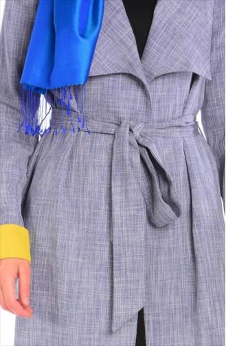 SUKRAN Belted Cape 35619D-05 Blue Yellow 35619D-05