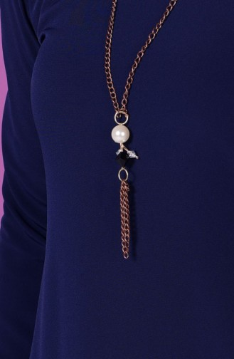 Sude Crepe Necklace Dress 4023-02 Navy Blue 4023-02