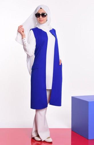 Gilet Détail Poches 1047-05 Bleu Roi 1047-05