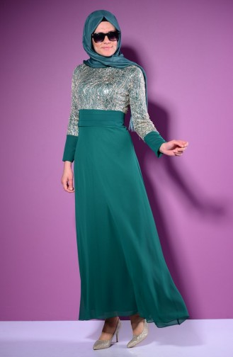 Green İslamitische Avondjurk 2369-05