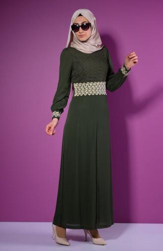 Şifon Astarlı Tulum Elbise 52414-09 Haki Yeşil Sefamerve