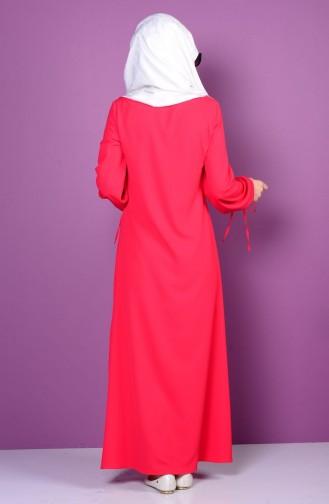 İşlemeli Elbise 4199-04 Kırmızı 4199-04