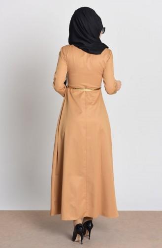 Robe a Ceinture et Collier 2201-10 Moutarde 2201-10