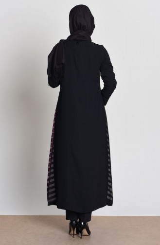 Abaya a Fermeture Mousseline 35704-02 Plum 35704-02