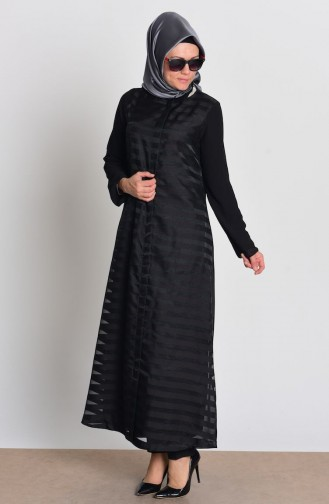 SUKRAN Chiffon Zippered Abaya 35704-01 Black 35704-01