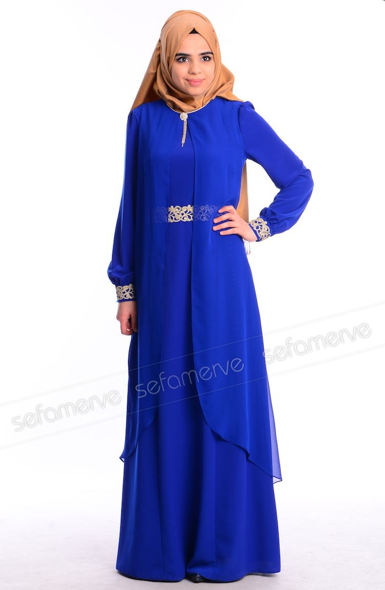 Robe Hijab Blue Roi 52188 06
