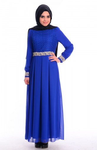 Lace Embroidered Dress 51983-13 Saxon blue 51983-13