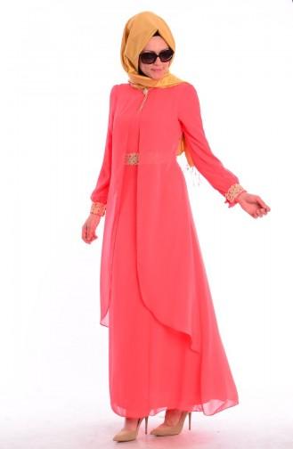 Tesettür Elbise FY 52221-03 Nar Çiçeği 52221-03