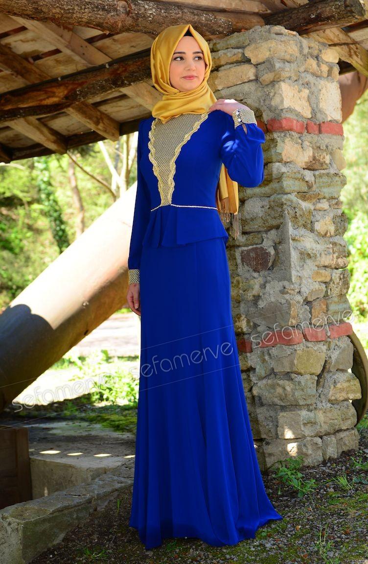 3aa64938b7f44 Tesettür Abiye Elbise 3111-04 Saks