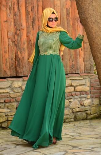 Green İslamitische Avondjurk 3124-01