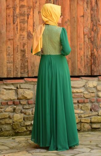 Tesettür Abiye Elbise 3124-02 Yeşil