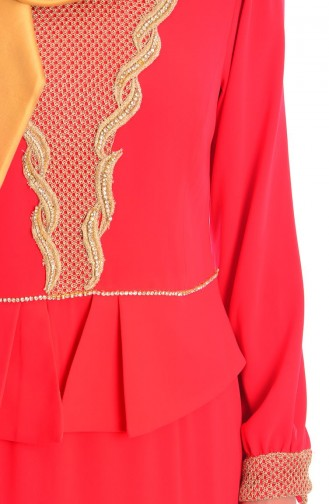 Red Islamic Clothing Evening Dress 3111-07