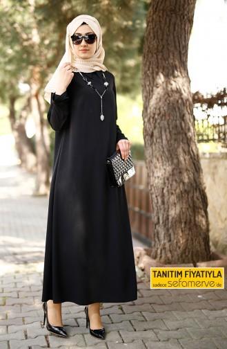 Gömlek Yaka Krep Elbise 4182-02 Siyah