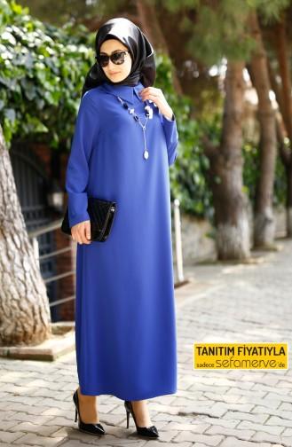 Gömlek Yaka Krep Elbise 4182-04 Saks Sefamerve