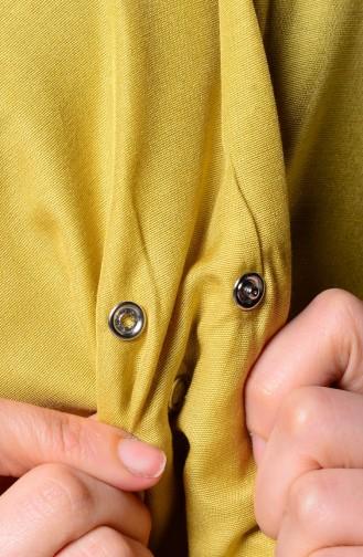 Yellowish Green Snap Fastener Shawl 1-14