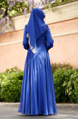 فستان الحفلات للمحجبات أزرق ملكي 0048-01