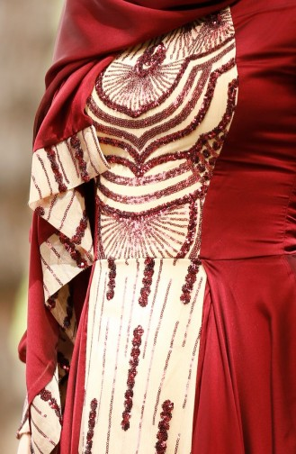 Claret red Islamic Clothing Evening Dress 0048-02