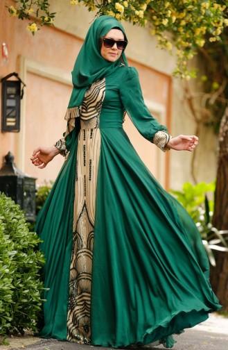Green İslamitische Avondjurk 0048-03