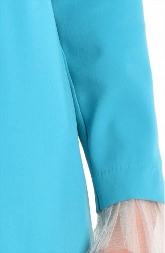 Robe de Soirée Détail Tulle 0174-05 Bleu BéBé 0174-05