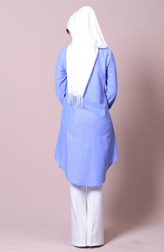 Düğmeli Tunik 2101-02 Mavi