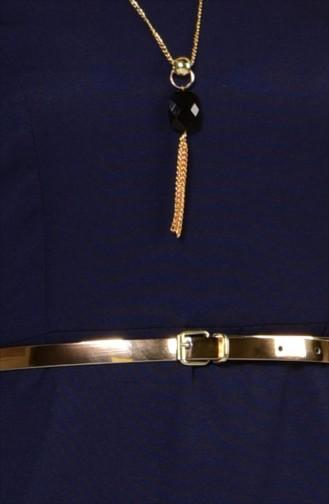 Kemerli Kolyeli Elbise 2201-04 Lacivert