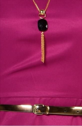 Kemerli Kolyeli Elbise 2201-05 Gül Kurusu
