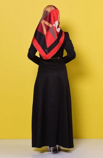 Kemerli Kolyeli Elbise 2201-06 Siyah